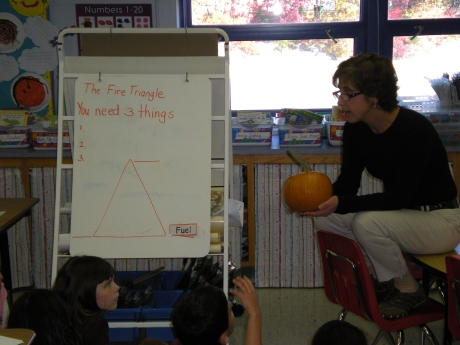 Mrs. Screnci teaches about the Fire Triangle