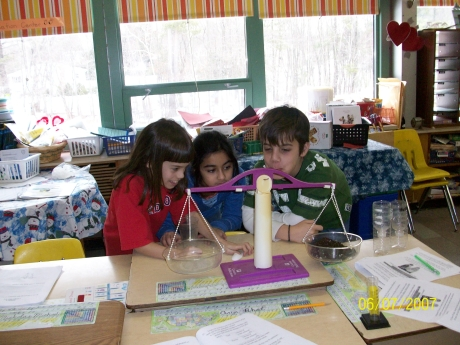 Students used balances to measure equal amounts of sand and humus.