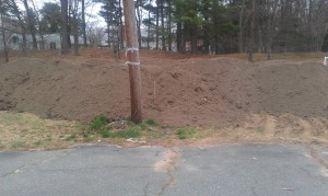 Loam to be spread on garden location