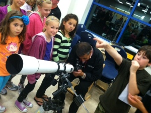 Mr. Papadonis was showing families the telescope