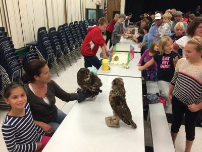 Students observing animals at Science Night