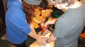 Assembling the bird houses